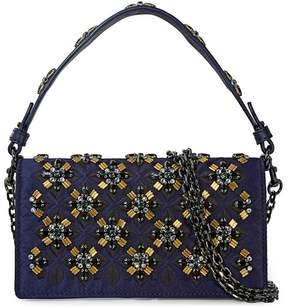 Tory Burch Cleo Embellished Fold-Over Clutch - Navy - ONE COLOR - STYLE