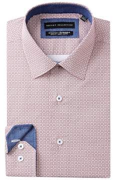 Report Collection Geo Print Stretch Slim Fit Dress Shirt