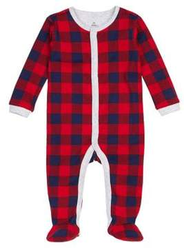 Petit Lem Baby Girl's eam Santa Buffalo Check Footed Sleeper