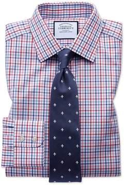 Charles Tyrwhitt Extra Slim Fit Poplin Multi Red Check Cotton Dress Shirt French Cuff Size 14.5/33
