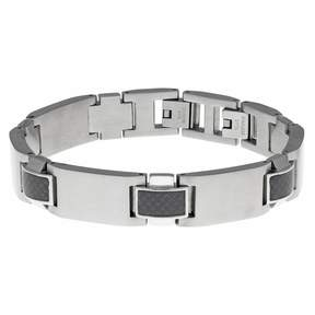 Lynx Men's Stainless Steel & Carbon Fiber Bracelet
