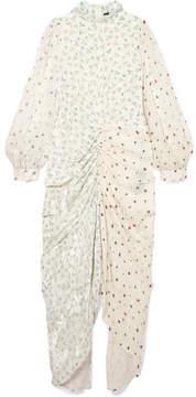 Joseph Fay Ruched Printed Devoré Silk-blend Chiffon Midi Dress - White