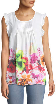 Cynthia Steffe Cece By Pleated-Front Floral Blouse