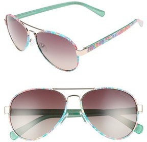 Lilly Pulitzer Women's Ainsley 59Mm Polarized Aviator Sunglasses - Blue