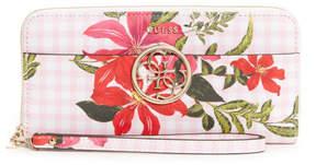 GUESS Kamryn Gingham Floral Zip-Around Wallet