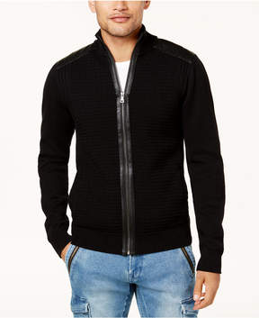 GUESS Men's Full-Zip Sweater with Faux-Leather Trim