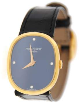 Patek Philippe 3748 18K Yellow Gold Ellipse Diamond Blue Dial Unisex Watch