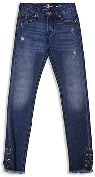 7 For All Mankind Girls' Laced Skinny Jeans - Little Kid