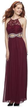 Speechless Juniors' Embellished Lace Cut-Out Evening Gown