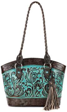 Patricia Nash Tooled Turquoise Collection Zorita Tasseled Floral-Embossed Colorblock Tote