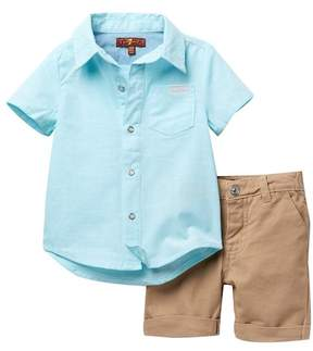 7 For All Mankind Shirt & Shorts Set (Baby Boys)