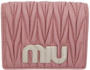 Miu Miu Pink Quilted Logo Wallet