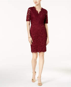 Ellen Tracy Short-Sleeve Lace Sheath Dress