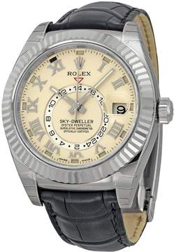 Rolex Sky Dweller Automatic Ivory Dial Black Leather Men's Watch