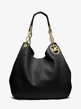 Michael Kors Fulton Large Leather Shoulder Bag - BLACK - STYLE