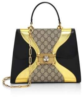 Gucci Osiride GG Supreme & Leather Top Handle Bag - BLACK-MULTI - STYLE