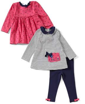 Little Me Baby Girls 12-24 Months Striped Purse Tunic, Dotted Tunic, & Leggings 3-Piece Set