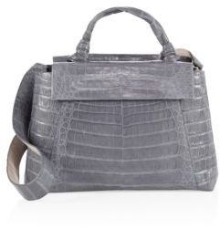 Nancy Gonzalez Medium Double Tie-Knot Crocodile Flap Tote