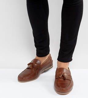 Asos Wide Fit Tassel Loafers In Tan Leather With Fringe And Natural Sole