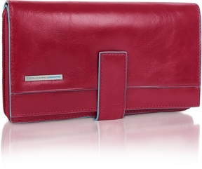 Piquadro Blue Square - Red Zip Around Leather Wallet
