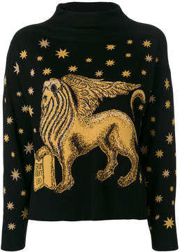 Alberta Ferretti winged lion and stars embroidered sweater