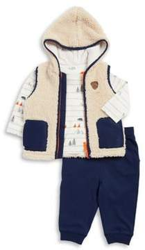 Little Me Baby Boy's Woodland Three-Piece Hooded Vest, Printed Shirt and Pants Set