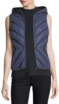 Blanc Noir Satin Mesh-Inset Puffer Vest