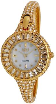 Burgi Sizzling Diamond and Gold-tone Bangle Ladies Watch