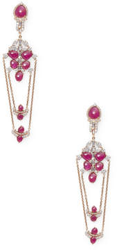 Artisan Women's Designer Slice Ruby Earring with Diamonds