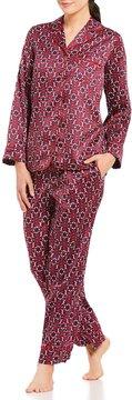 Cabernet Micro Floral Satin Pajamas