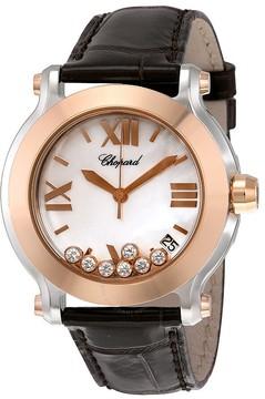 Chopard Happy Sport II MOP Dial Brown Leather Flaoting Diamonds Ladies Watch