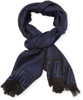 Versace Men's Sciarpa Wool Fringe Long Scarf