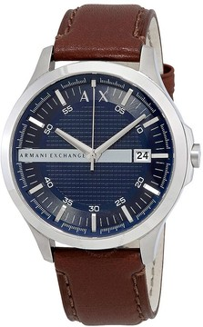 Armani Exchange Navy Dial Brown Leather Men's Watch