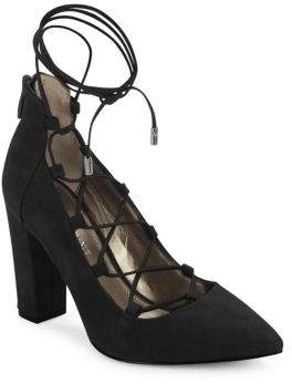 Saks Fifth Avenue Jinnette Leather Ankle Tie Pumps
