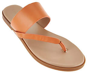 Halston H by Leather Sandals with Wooden Accent- Addie