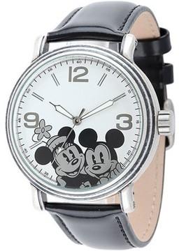 Disney Mickey & Minnie Men's Antique Silver Vintage Articulating Alloy Case Watch, Black Leather Strap