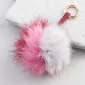World Market Pink and Gray Pom Pom Keychain