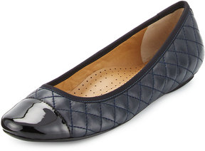 Neiman Marcus Saucy Quilted Leather Flat, Navy/Black