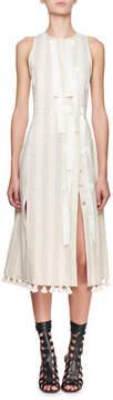 Altuzarra Blanche Sleeveless Jacquard Diagonal-Snap Dress with Pompom & Ribbon Trim