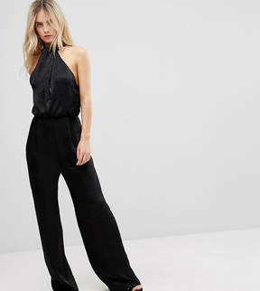 Asos Satin Fold Neck Jumpsuit with Keyhole and Wide Leg