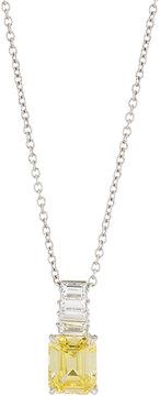 FANTASIA Emerald-Cut Canary CZ Pendant Necklace