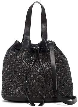 Liebeskind Berlin Topeka Medium Woven Snake Embossed Drawstring Bucket Bag
