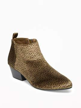 Old Navy Velvet Cheetah-Print Low Ankle Booties for Women