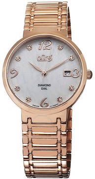 Burgi White Mother of Pearl Dial Rose-tone Ladies Watch