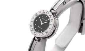 Bvlgari B.zero1 Black Dial Stainless Steel Bangle Bracelet Ladies Watch