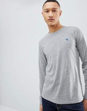 Abercrombie & Fitch Long Sleeve T-Shirt with Moose Logo in Gray Marl