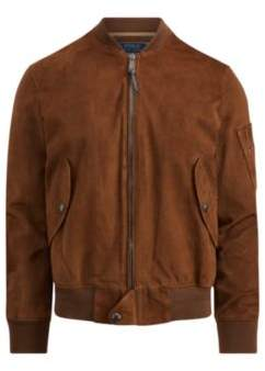 Ralph Lauren Suede Bomber Jacket Country Brown Xs