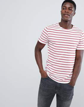 Pull&Bear T-Shirt With Striped Detail In Red