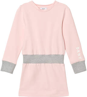 DKNY Pink and Grey Branded Sweat Dress