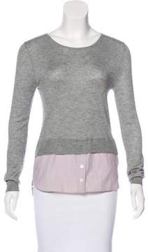 Band Of Outsiders Layered Silk & Cashmere Top
